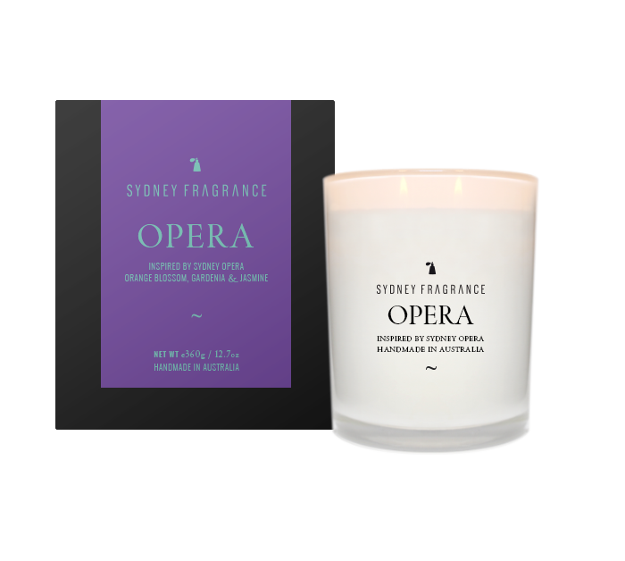 Sydney Fragrance OPERA Candle ORANGE BLOSSOM, GARDENIA & JASMINE